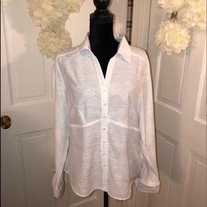 Dressbarn  👚 Women's Long Sleeve White Blouse